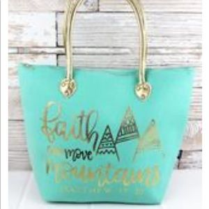 Faith Can Move Mountains Mint Shoulder Tote Bag